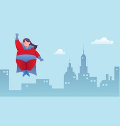 overweight superheroine flying vector image