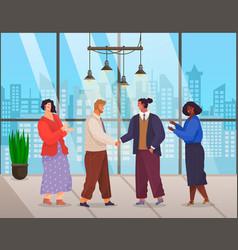 partners on deal meeting do handshake in flat vector image