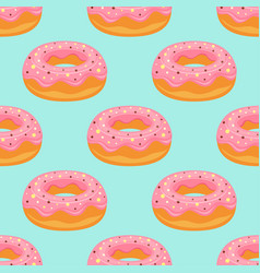 Pink donuts pattern isolated on blue background vector