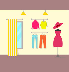 pleasant interior clothing store color poster vector image
