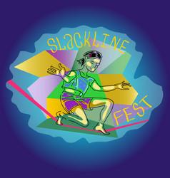 poster slackline fest vector image