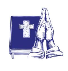 praying hands bible gospel doctrine of vector image