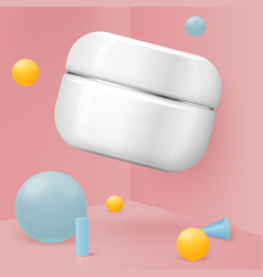realistic abstract scene with cosmetics jar vector image