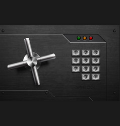 realistic safe lock metal element on brushed black vector image