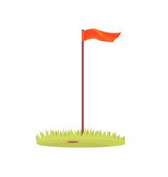 Red golf flag golf sport equipment cartoon vector
