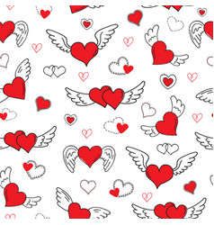 romantic hearts seamless pattern valentines day vector image