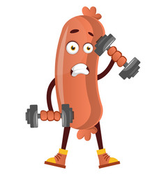 sausage lifting weights on white background vector image