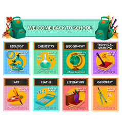 School subjects poster for back to design vector