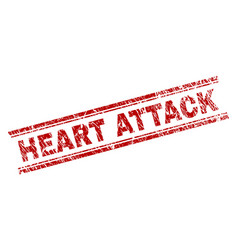 Scratched textured heart attack stamp seal vector