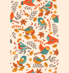 seamless pattern with autumn birds image vector image