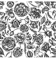 Seamless pattern with black and white roses vector