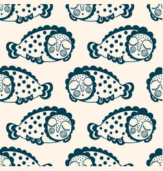 seamless pattern with fantastic sleeping fish vector image