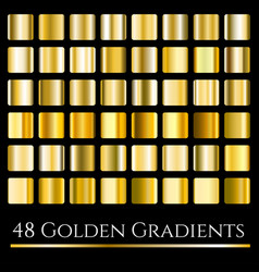 set of gold gradients golden squares vector image