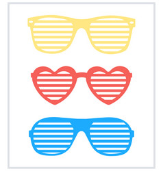 set shutter-shades sunglasses background vector image