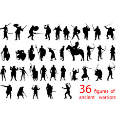 silhouettes ancient warriors vector image