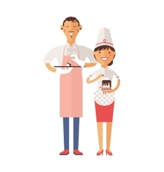 Smiling confectioners holding plate with cake vector