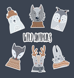 stickers made paper with a shadow wild and vector image