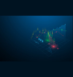Stock market virtual hologram statistics graph vector