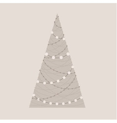 Stylized christmas tree with garlands in beige vector
