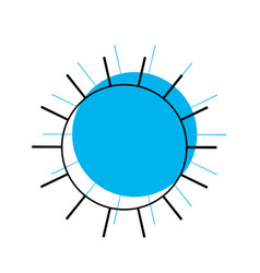 Sun icon in blue watercolor silhouette vector
