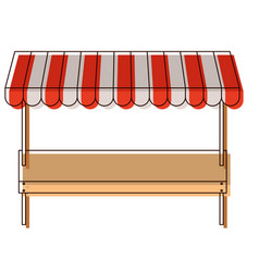 Supermarket shelf of one level and sunshade in vector