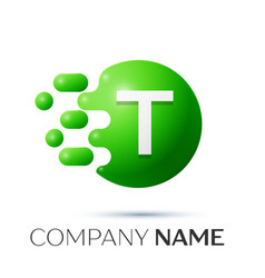T letter splash logo green dots and circle bubble vector