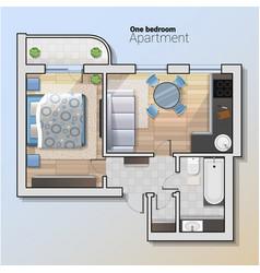 top view of modern one bedroom vector image