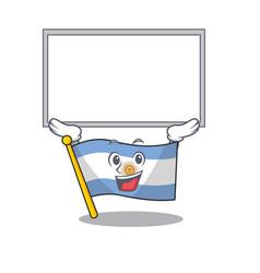 Up board flag argentina cartoon shaped mascot vector