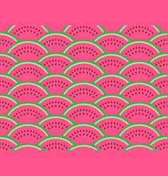 watermelon slices seamless pattern summer vector image