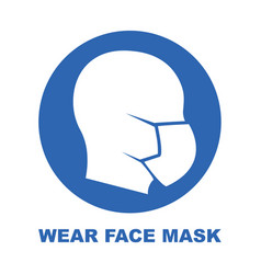 wear face mask blue sign silhouette head vector image