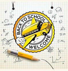 welcome back to school logo checkered paper sheet vector image