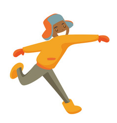 Young african-american man playing snowball fight vector