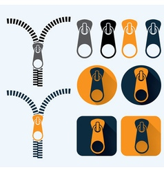 Zipper and icons set flat design vector
