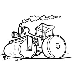 black and white of an asphalt compactor vector image