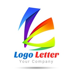 Colorful 3d Volume Logo Design K letter formed by vector image