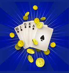 flat royal flush in spades golden coins vector image