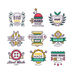 hand made knitting and tailor set of labels vector image