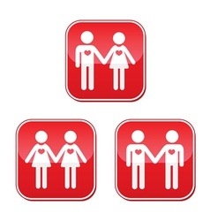Hetero gay and lesbian love couples buttons set vector image