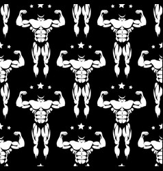 male athletic body silhouettes seamless pattern vector image vector image