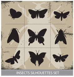 Nature butterflies silhouettes sign set vector image