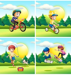 Scenes with kids exercising in the park vector image vector image
