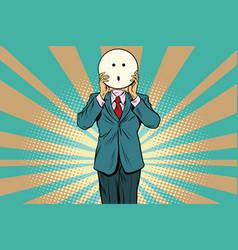 surprise man smiley emoji face vector image vector image