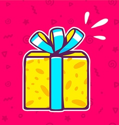 yellow gift box with blue ribbon on red p vector image vector image