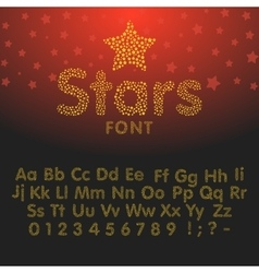 Gold glittering Alphabet of sparkles vector image