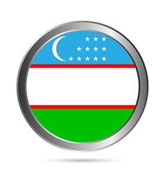 Uzbekistan flag button vector image
