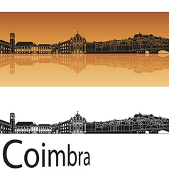 Coimbra skyline in orange background vector image vector image