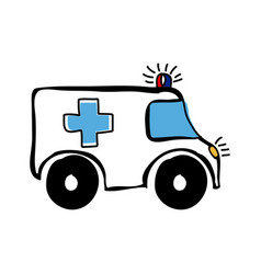 colorful hand drawn silhouette of ambulance vector image vector image