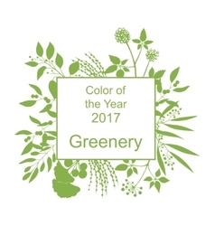 Greenery trendy background with frame vector image