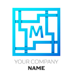 realistic letter m logo in colorful square maze vector image vector image
