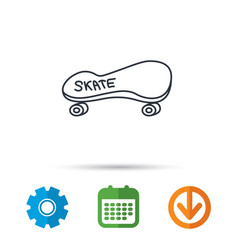 skateboard icon skating sport sign vector image